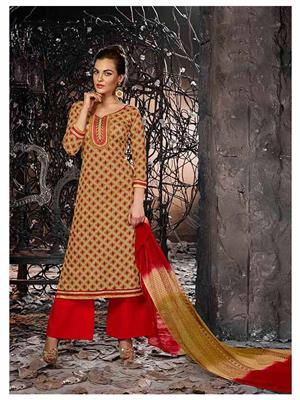 Ethnic Culture 1272-27745 Brown Women Dress Material