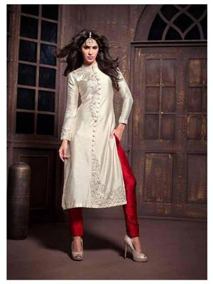 Ethnic Culture 1281-27869 White Women Straight Salwar Suit