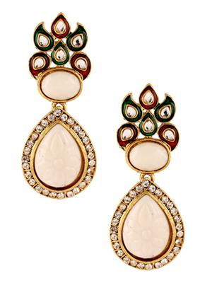 kriaa 1303739 Maroon & Green Women Earrings