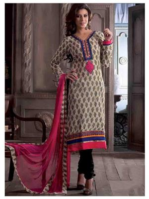 Ethnic Culture 1377-29741 Brown Women Dress Material