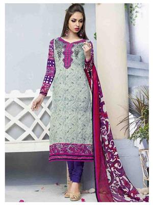 Ethnic Culture 1421-30391 Grey Women Dress Material