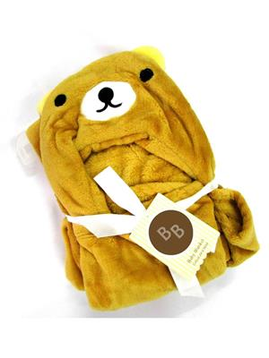 Buddyboo 145011 Light Yellow-Light Brown Teddy Baby Bath Towel