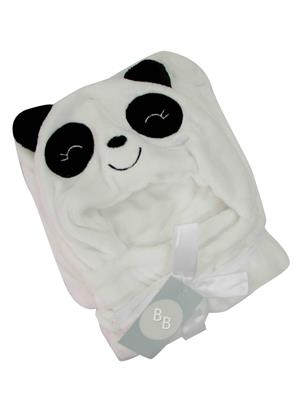 Buddyboo 145013 White-Black Panda Baby Bath Towel