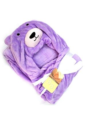 Buddyboo 145015 Purple Teddy Baby Bath Towel