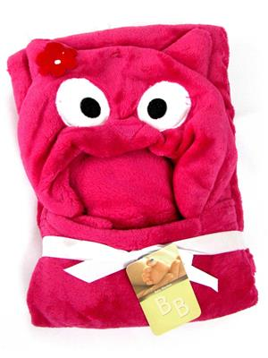 Buddyboo 145016 Dark Pink Bird Baby Bath Towel