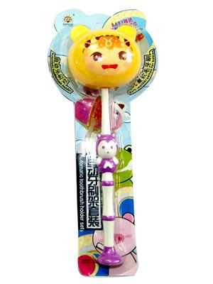 Buddyboo 145066 Purpile-Yellow Animal Kids Toothbrush Holder Set Of 4