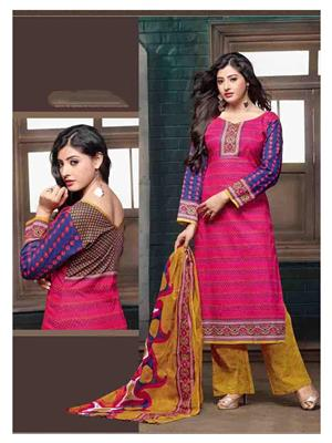 Ethnic Culture 1495-31294 Pink Women Dress Material