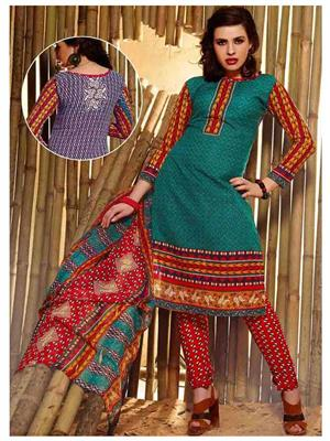 Ethnic Culture 1499-31351 Green Women Dress Material