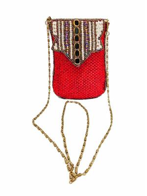 Walletmania 150910A  Lovely Red Ethnic Jute Women Sling Bag