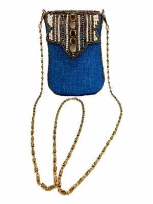 Walletmania 150910B  Naughty Blue Ethnic Jute Women Sling Bag