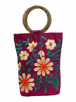 Walletmania 15094A Maroon Fancy Embroidery Potli