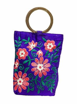 Walletmania 15094C Purple Fancy Embroidery Potli