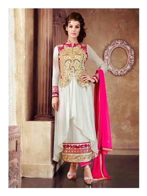 Ethnic Culture 1611-33033 White Women Anarkali Salwar Suit