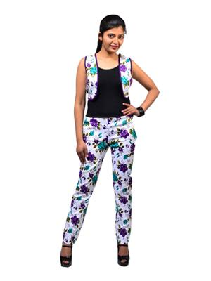 Fbbic 16201 White Women Shrug With Pant