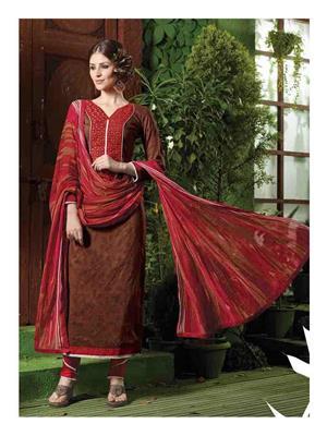Ethnic Culture 1658-33760 Brown Women Dress Material