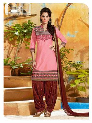 Ethnic Culture 1689-34185 Pink Women Dress Material