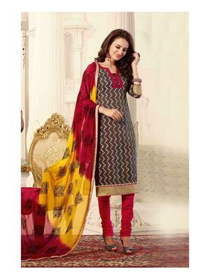 Ethnic Culture 1709-34461 Grey Women Dress Material