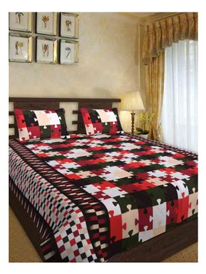 NC Creations NCBS-HHH017 Multicolored Bedsheet With 2 Pillow Covers