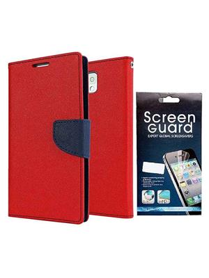 Serkudos Htc 626G Red Flip Cover With Screenguard Combo