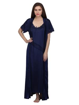 Valentine 2179Nb Navy Blue Women Nighty set