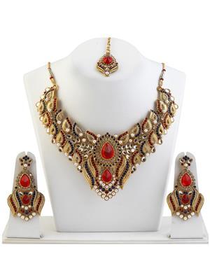 kriaa 2202204 Maroon & Blue Women Jewellery Set