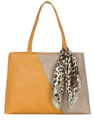 Cappuccino 22035A Mustered-Beige Women Tote Bag