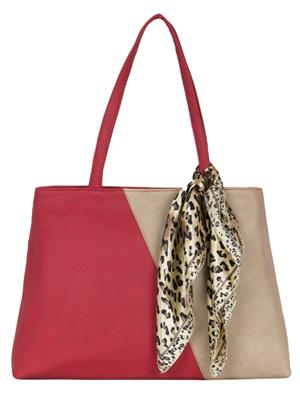 Cappuccino 22035A Red-Beige Women Tote Bag