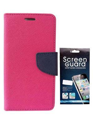 Serkudos Samsung Galaxy A7 Pink Flip Cover With Screenguard Combo
