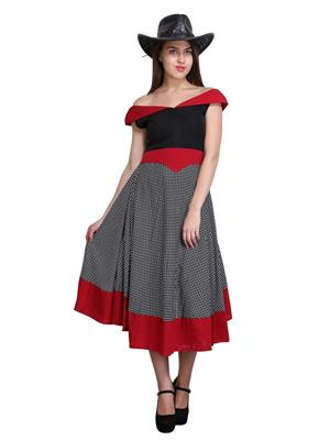Sierra 254 Red-Black-White Women Dress