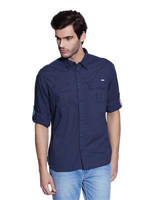 Cat 2611049-Nvy Blue Men Casual Shirt