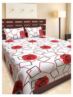 NC Creations NCBS-HHH026 Multicolored Bedsheet With 2 Pillow Covers