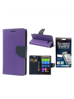 Serkudos Nokia Lumia 640 Xl Purple Flip Cover With Screenguard Combo