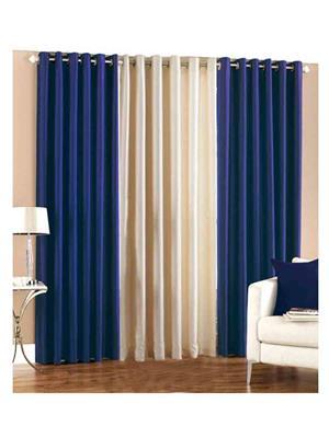 SAI ARPAN 2BLUE-1CREAM Multicolor Door Curtain