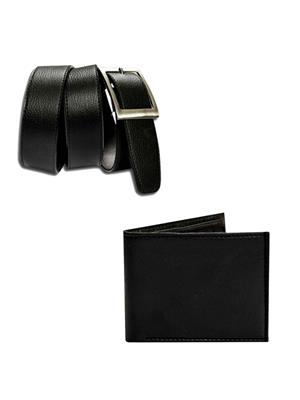 Ansh Fashion Wear 2CM-BLT-PRS Black Men Belt With Wallet
