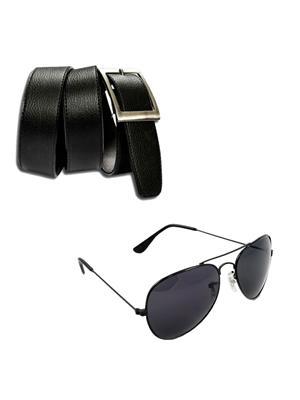 Ansh Fashion Wear 2CM-BLT-SGS Black Men Wallet With Sunglass