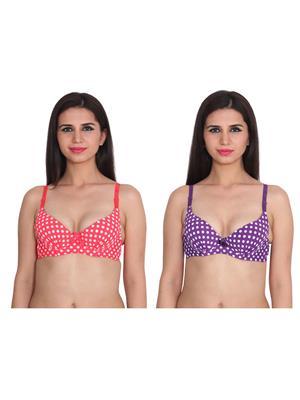 Ansh Fashion Wear 2Cm-769-6-11 Multicolored Women Bra Set Of 2
