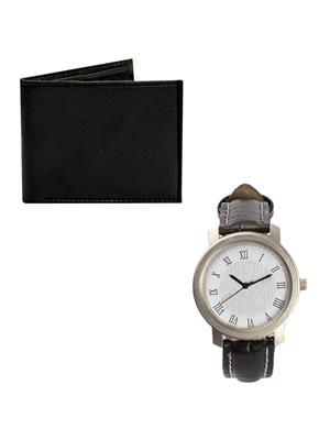 Ansh Fashion Wear 2CM-PRS-WCH Black Men Wallet With Watch