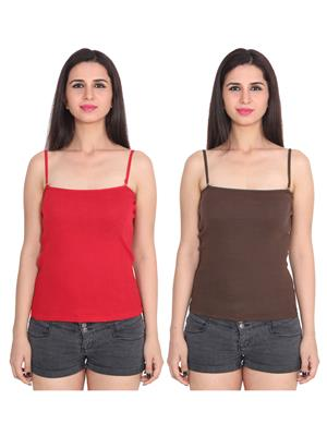Ansh Fashion Wear 2Cm-Spg-229-6-12 Multicolored Women Camisole Set Of 2