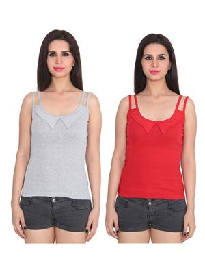 Ansh Fashion Wear 2Cm-Spg-606-4-6 Multicolored Women Camisole Set Of 2