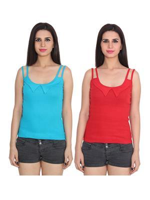 Ansh Fashion Wear 2Cm-Spg-606-8-6 Multicolored Women Camisole Set Of 2