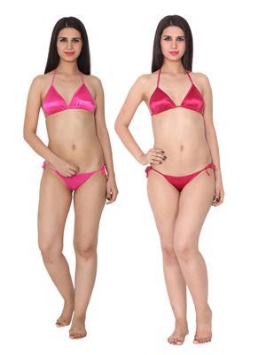 Ansh Fashion Wear 2Cm-Strby-Pnk-Mrn Red Women Bra Panty Set Of 2
