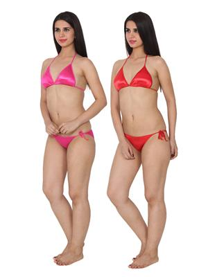 Ansh Fashion Wear 2Cm-Strby-Pnk-Rd Red Women Bra Panty Set Of 2