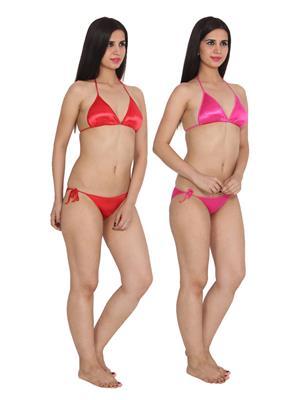 Ansh Fashion Wear 2Cm-Strby-Rd-Pnk Red Women Bra Panty Set Of 2
