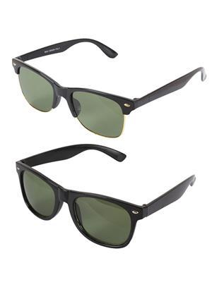 Ansh Fashion Wear 2CM-SUN-FULL-HALF Black Aviator Sunglasses Set Of 2