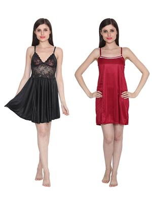 Ansh Fashion Wear W-DL-D1-BLK-D5-MRN Black-Maroon Women Babydoll Set Of 2