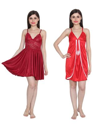 Ansh Fashion Wear W-DL-D1-MRN-D3-RD Maroon-Red Women Babydoll Set Of 2