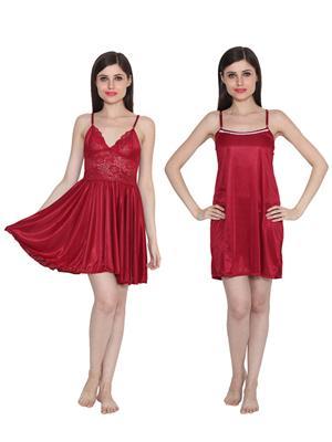 Ansh Fashion Wear W-DL-D1-MRN-D5-MRN Maroon Women Babydoll Set Of 2