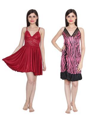 Ansh Fashion Wear W-DL-D1-MRN-D6-PNK Maroon-Pink Women Babydoll Set Of 2