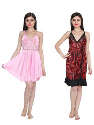Ansh Fashion Wear W-DL-D1-PNK-D6-RED Pink-Red Women Babydoll Set Of 2