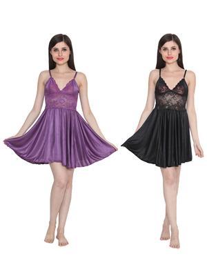 Ansh Fashion Wear W-DL-D1-PRL-BLK Purple-Black Women Babydoll Set Of 2